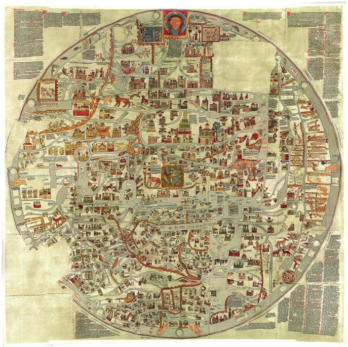 The Ebstorf map circa 1235. These medieval maps of the world (like the contemporaneous 'Hereford Map') are full of myth and legend. Although not enduring in terms of practicality, it does provide insight into the minds of the medieval peoples. Notice the head, hands and feet of the map.