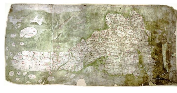 The Gough Map of 1360. This is a another delightful map. It depicts Great Britain. There is a website regarding this map: http://www.goughmap.org Only two places in the map were annotated in gold, one of the places being London. The earliest human flight experiments were in the 17th-18th centuries I think. The accurate measurement of latitude happened also around the same time. This means, that it is rather astounding that one could draw the shape of the Great British islands as accurately as drawn here in the 14th century.
